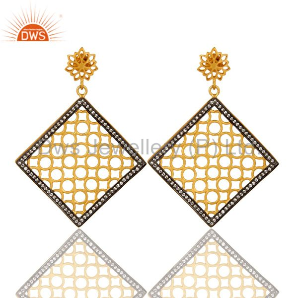 14K Yellow Gold Plated Sterling Silver Filigree  Designer Dangle Earring With CZ