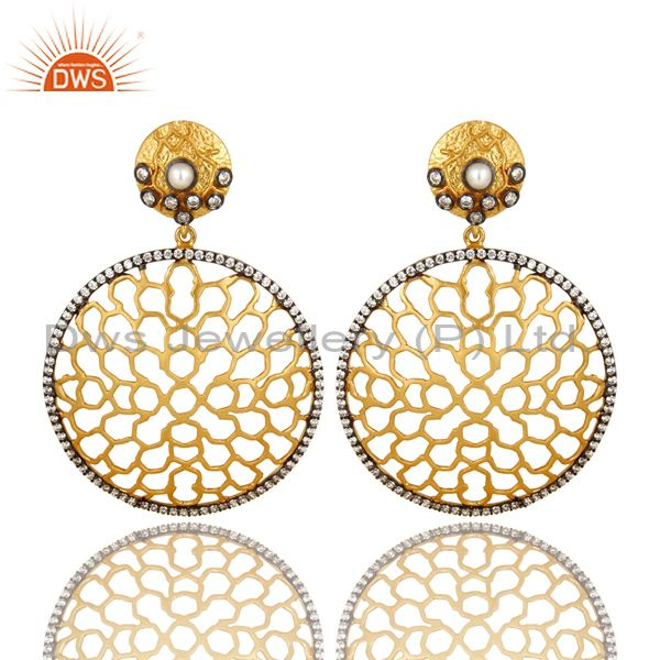 14K Yellow Gold Plated Sterling Silver Pearl & CZ Filigree Design Drop Earrings