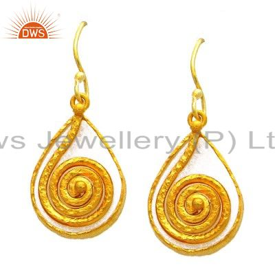 22K Matte Yellow Gold Plated Sterling Silver Spiral Designer Dangle Earrings