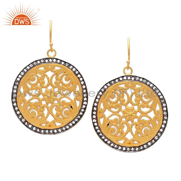 22K Yellow Gold Plated Sterling Silver CZ FIligree Disc Designer Dangle Earrings