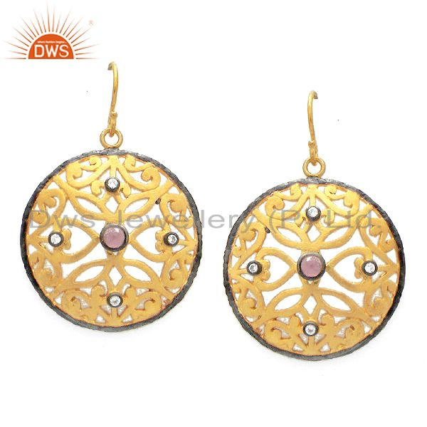 24K Yellow Gold Plated Sterling Silver Tourmaline And CZ Disc Dangle Earrings