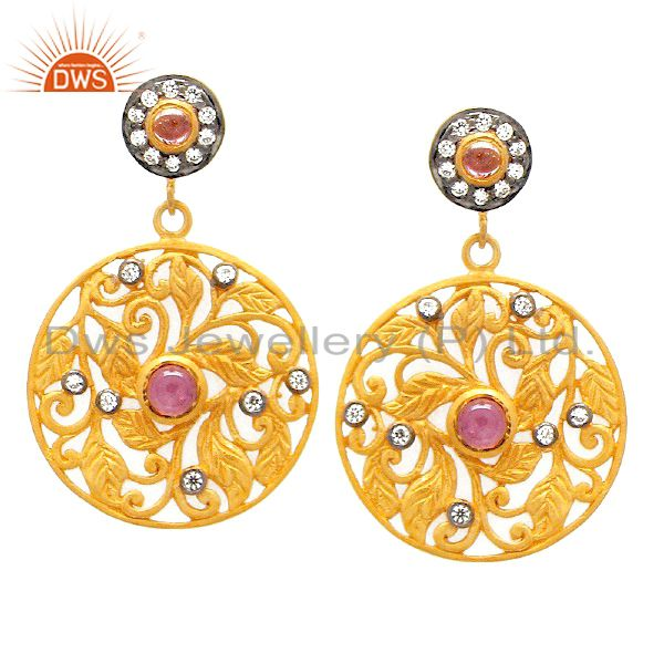 18K Gold Plated Sterling Silver Pink Tourmaline And CZ Floral Designer Earrings