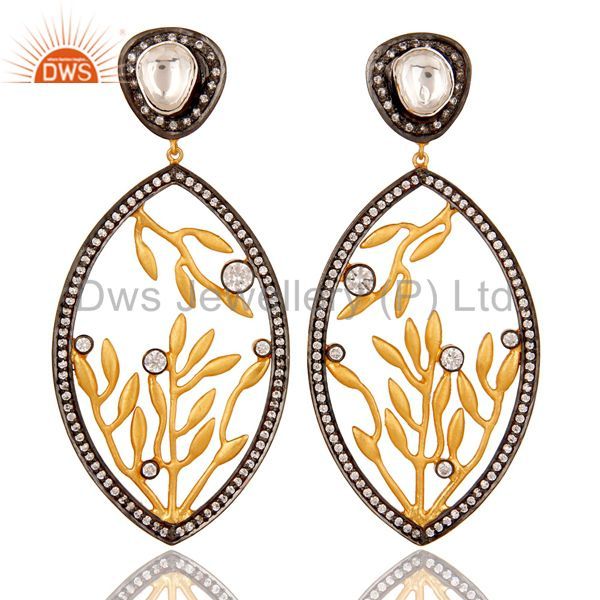 22K Gold Plated Sterling Silver Crystal Quartz And CZ Floral Dangle Earrings