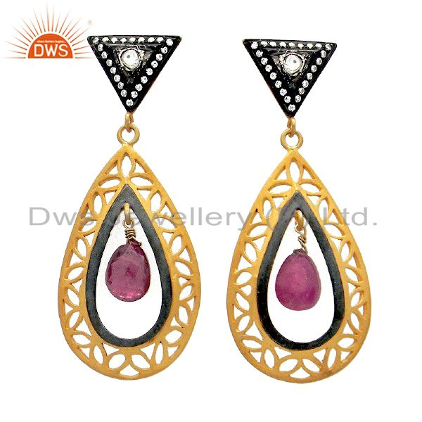 22K Gold Plated Sterling Silver Pink Tourmaline And CZ Polki Teardrop Earrings