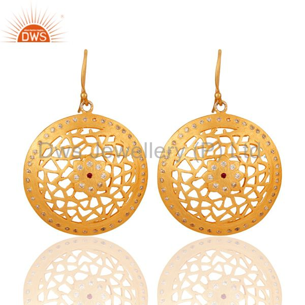 24K Gold Plated 925 Sterling Silver White Cubic Zirconia Filigree Design Earring