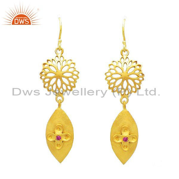 18K Gold Plated Sterling Silver Red Cubic Zirconia Filigree Design Earrings
