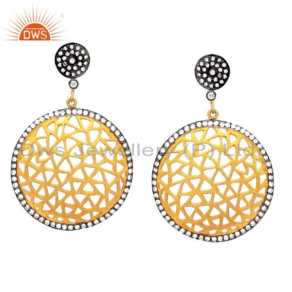 18K Yellow Gold Plated Sterling Silver Cubic Zirconia Filigree Design Earrings