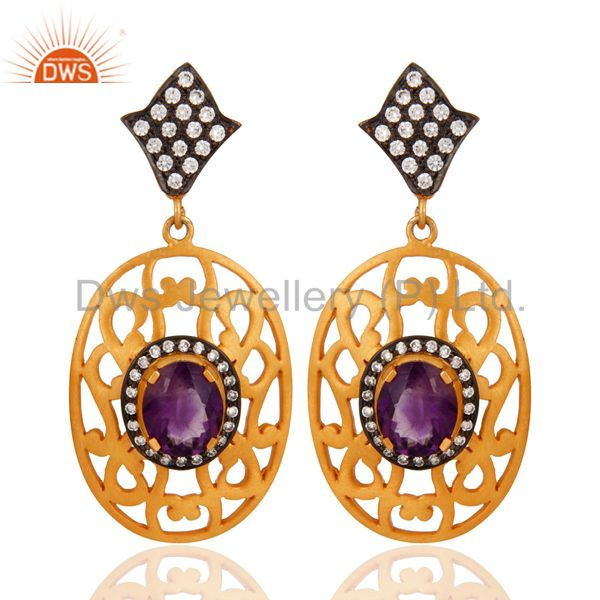 Handmade 925 Sterling Silver Amethyst Gemstone & CZ Earring With Gold Plated