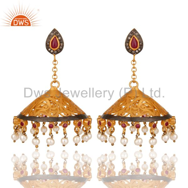 18K Gold Plated Sterling Silver Diamond, Pearl and Ruby Ethnic Jhumka Earrings