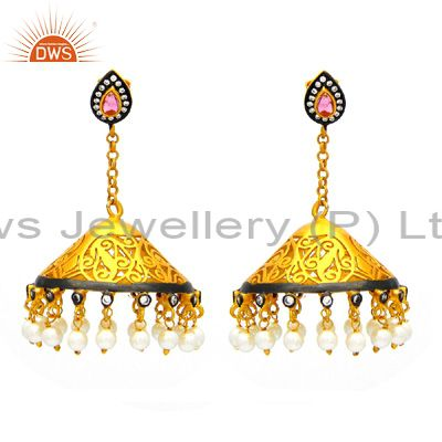 18K Gold Plated Sterling Silver Pink Tourmaline And CZ Ethnic Jhumka Earrings