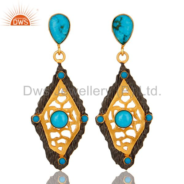 18K Yellow Gold Plated Turquoise Gemstone Designer Fashion Earrings