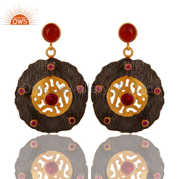 18K Yellow Gold Plated Red Onyx And Red CZ Textured Disc Dangle Earrings
