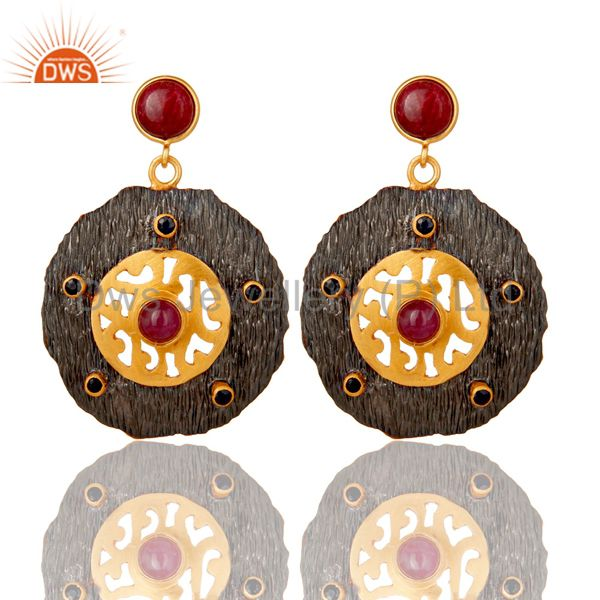 Oxidized And 22K Matte Gold Plated Silver Ruby And Blue Sapphire Disc Earrings