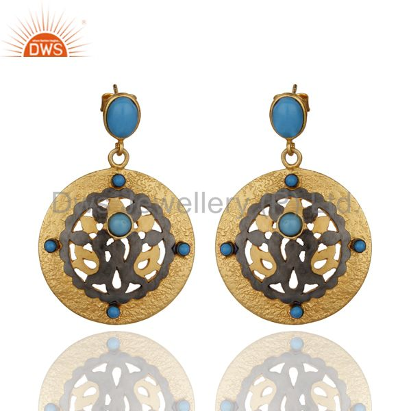 Solid Sterling Silver Gold Plated Turquoise Gemstone Dangle Earring