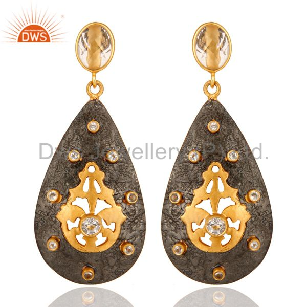 Gold Plated 925 Sterling Silver Designer Earrings With Crystal Quartz & CZ