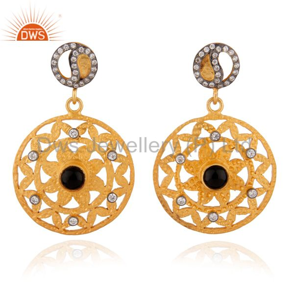 Black Onyx Sterling Silver Indian Filigree Gold Plated Zircon Dangle Earrings