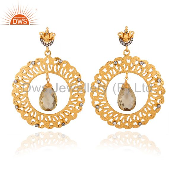 Natural Lemon Topaz 925 Sterling Silver Drop Dangle Filigree Circle Earrings