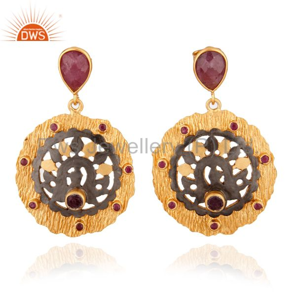 Brush Finish 18kt Gold Plated Handcrafted Silver Ruby Gemstone Dangle Earring