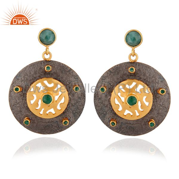 925 Silver Emerald Stone 22K Gold Plated-Style Dangle Earrings with Matte Finis