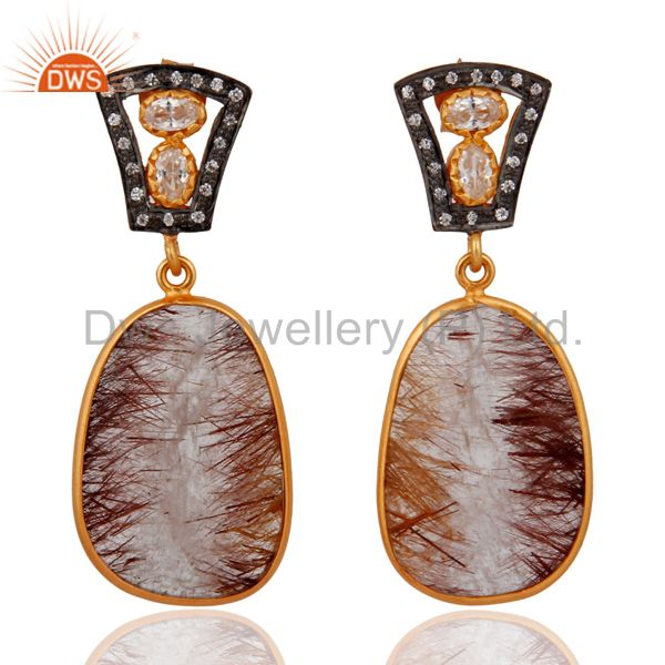White Cubic Zirconia Sterling Silver Rutilated Quartz Earring With Gold Plated