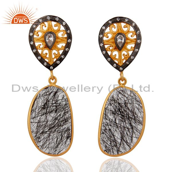 Designer 925 Sterling Silver Tourmalinated Quartz Earrings With 24k Gold Plated