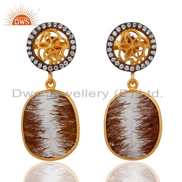 High Quality Natural Gemstones Rutile Quartz Earrings In 24k Gold on 925 Silver