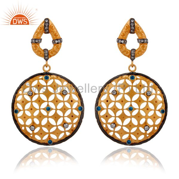 18-karat Gold Plated Over Brass Round Blue Cubic Zirconia Filigree Drop Earrings