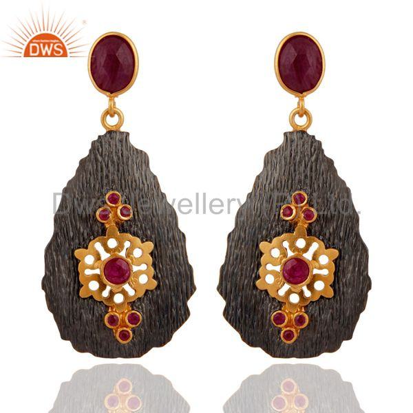 Handmade 925 Sterling Silver Gold Plated Gemstone Ruby Earrings Jewelry