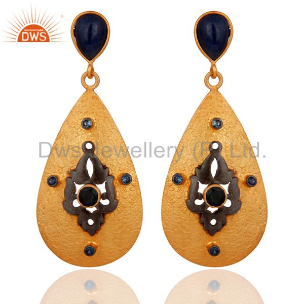 Genuine Blue Sapphire .925 Sterling Silver Gold Plated Designer Dangle Earrings
