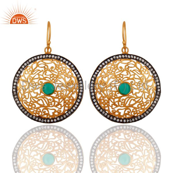 Gold Plated Ladies Sterling Silver Unique Filigree Designer White Zircon Earring