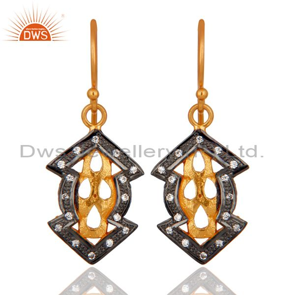 Handmade Vintage Style Gold Plated 925 Sterling Silver Cubic Zirconia Earrings