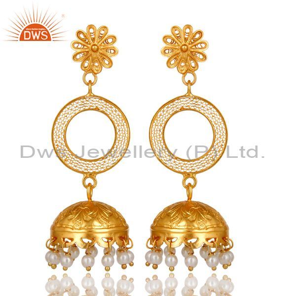 22K Yellow Gold Plated Sterling Silver Natural Pearl Designer Jhumka Earrings