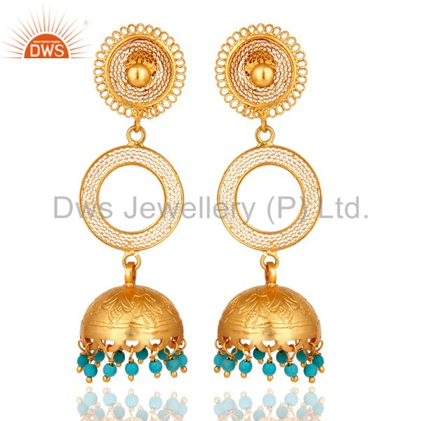 14K Gold Plated Sterling Silver Turquoise Long Dangle Jhumka Earrings