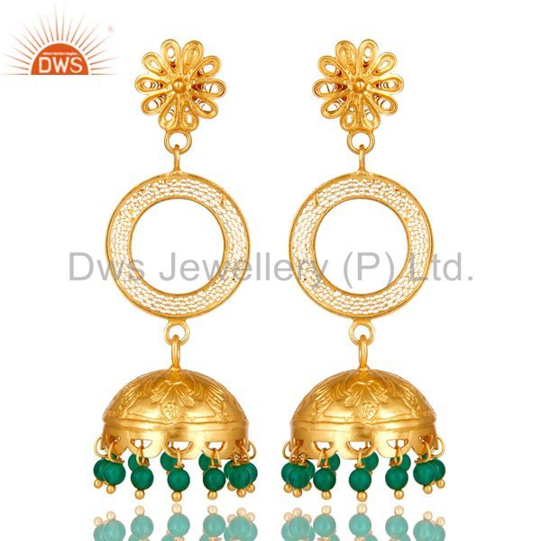 18K Yellow Gold Plated Sterling Silver Green Onyx Designer Jhumka Earrings