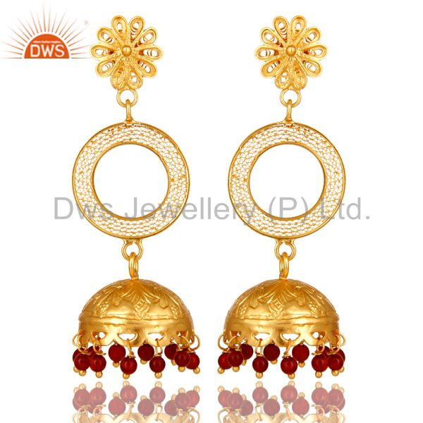 18K Yellow Gold Plated Sterling Silver Red Onyx Ethnic Designer Jhumka Earrings