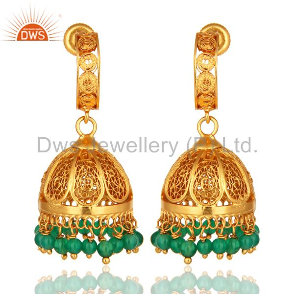 925 Sterling Silver Green Onyx Jhumka Earrings With 18K Gold Plated