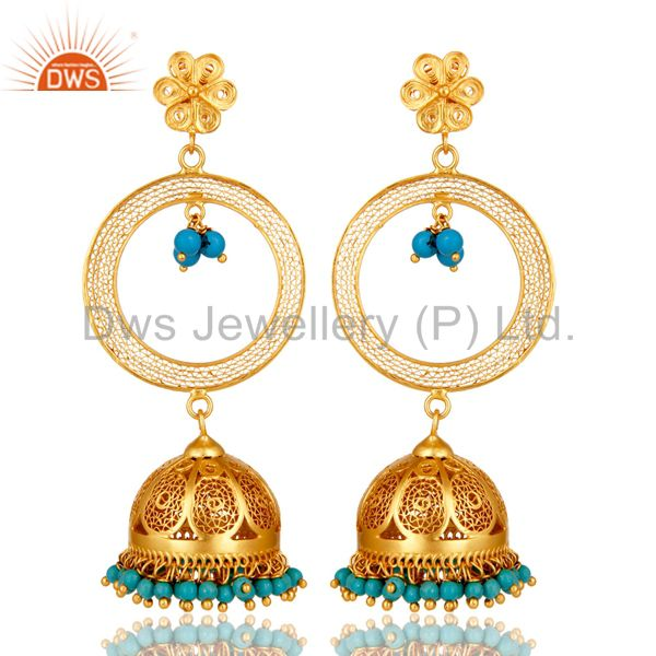 24K Yellow Gold Plated Sterling Silver Turquoise Ethnic Designer Jhumka Earrings