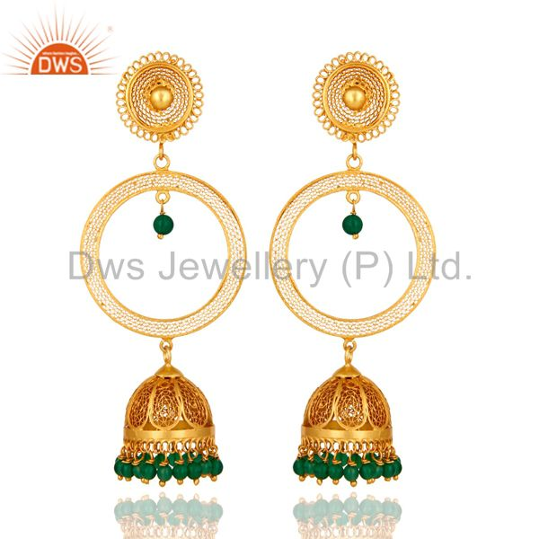 Gold Plated Sterling Silver Green Onyx Unique Traditional Design Jhumka Earrings