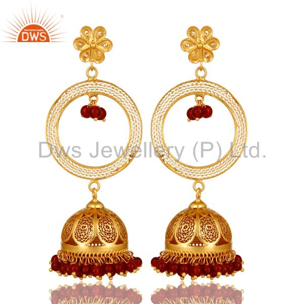 14K Yellow Gold Plated Sterling Silver Red Onyx Traditional Jhumka Earrings