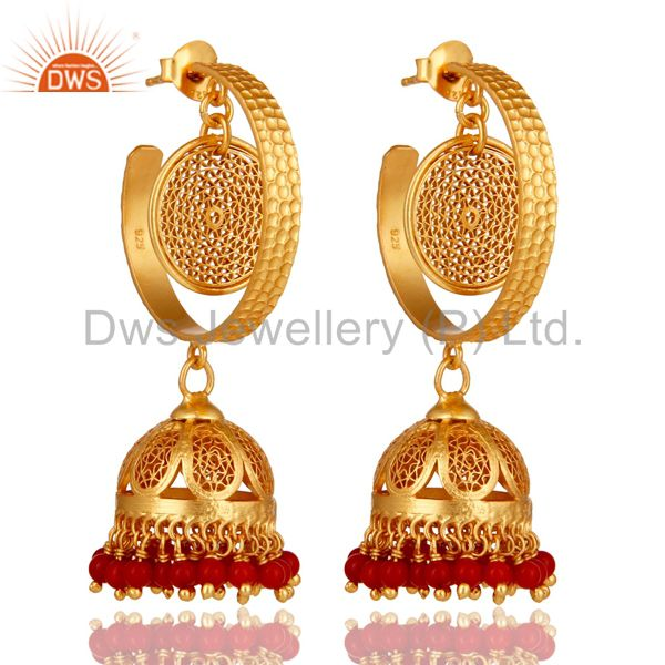 14K Yellow Gold Plated Sterling Silver Designer Jhumka Earrings With Red Coral
