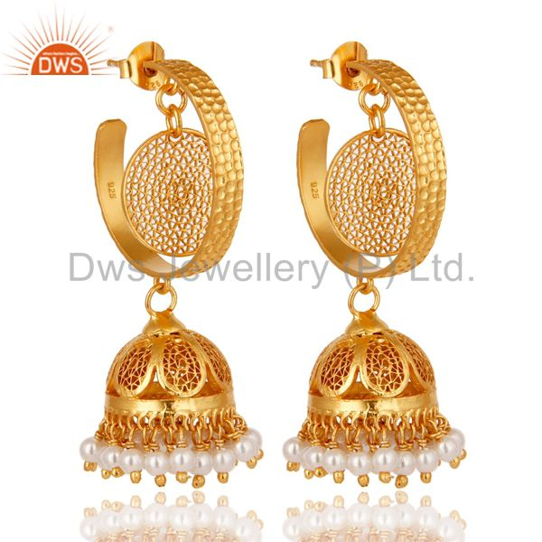 14K Yellow Gold Plated Sterling Silver Designer Jhumka Earrings With White Pearl