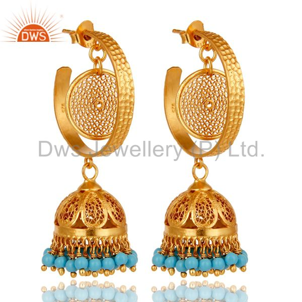 14K Yellow Gold Plated Sterling Silver Designer Jhumka Earrings With Turquoise