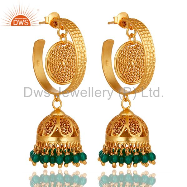 14K Yellow Gold Plated Sterling Silver Designer Jhumka Earrings With Green Onyx