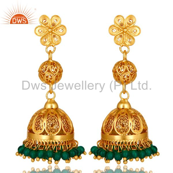 14K Yellow Gold Plated Sterling Silver Green Onyx Traditional Jhumka Earrings