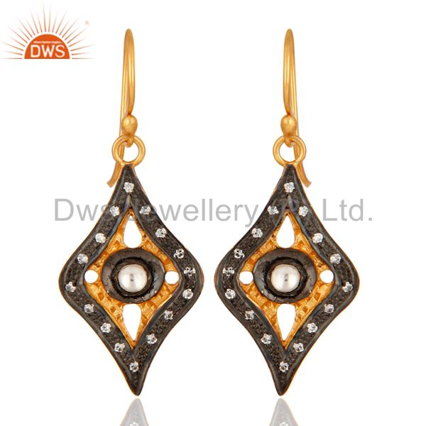 925 Sterling Silver Cubic Zirconia Fashion Bridal Dangle Earrings - Gold Plated