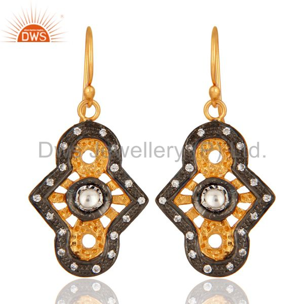 Designer Sterling Silver With Yellow Gold Plated Cubic Zirconia Earrings