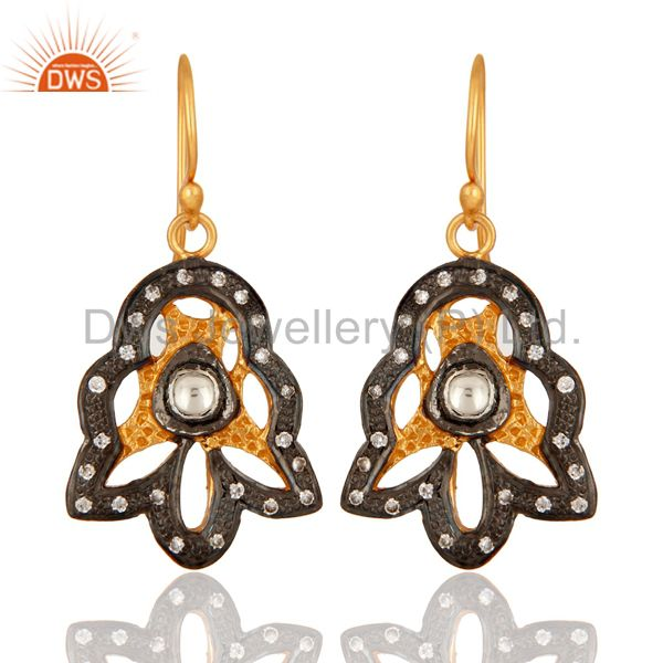18K Yellow Gold Plated Sterling Silver Cubic Zirconia Designer Earrings