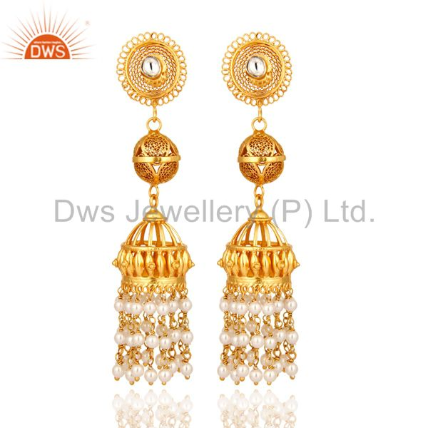 Tradional Handmade Sterling Silver Pearl Jhumka Hanging Earrings - Gold Plated