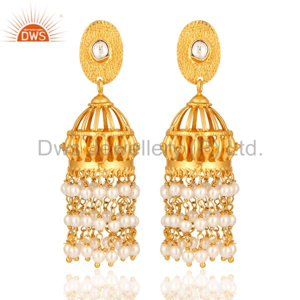 Natural Pearl Gold Plated Sterling Silver Bridal Jhumka Designer Earrings