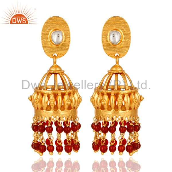 Red Onyx 925 Sterling Silver Jhumka Earrings For Teen Girls With Gold Plated